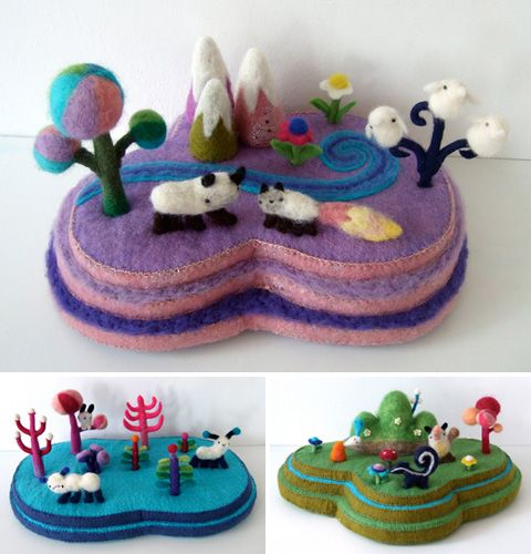 Islands so cute and kawaii japan style needle felted diorama landscapes fantasy colourful little kitsch with tiny animals ,trees and mountains reminds me of places you might visit in the yellow submarine