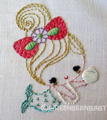 Mermaid girls Cutesie Digital Embroidery Patterns by greenbeanbaby, $3.50