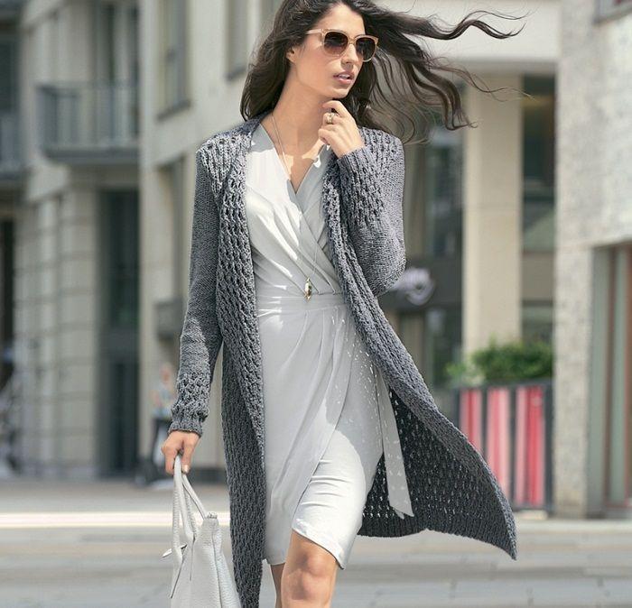 Женское пальто с рельефным узором спицами. Связать пальто спицами | Я Хозяйка