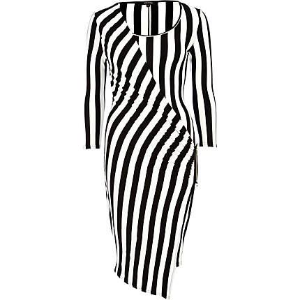 River Island Black and white stripe midi draped dress