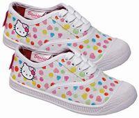 Nové - Bílé puntíkované tenisky s Hello Kitty zn. Sanrio vel. 28
