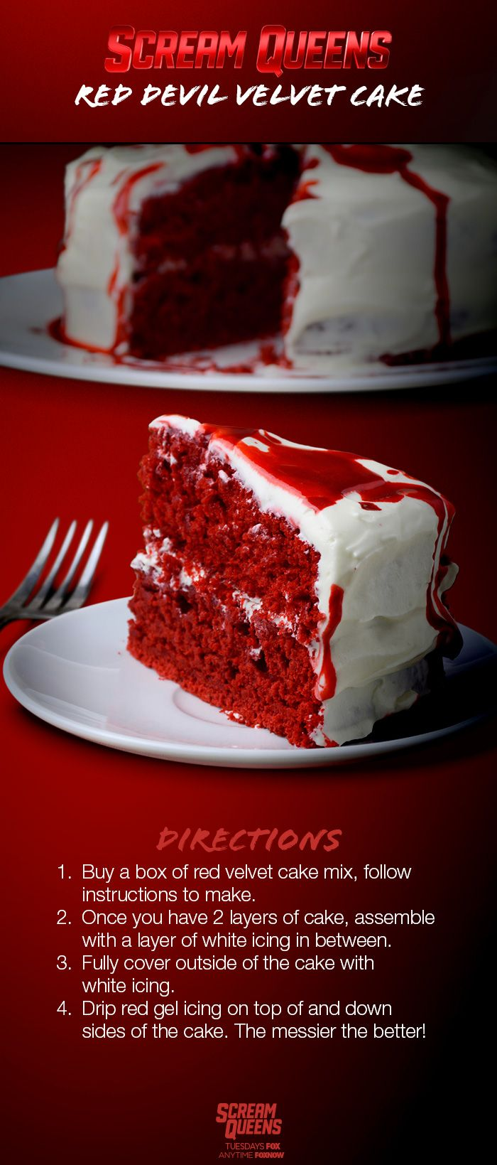 Nothing could be more bloody delicious than the Red Devil's Red Velvet cake! Try dripping red gel icing to recreate blood and complete your Halloween sweet treat!