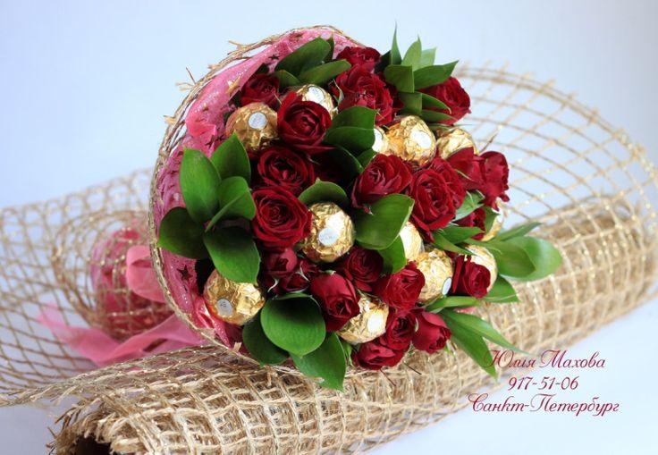 Gallery.ru / Букет из роз с ферреро роше - Букет из конфет с живыми цветами. - MamaYulia