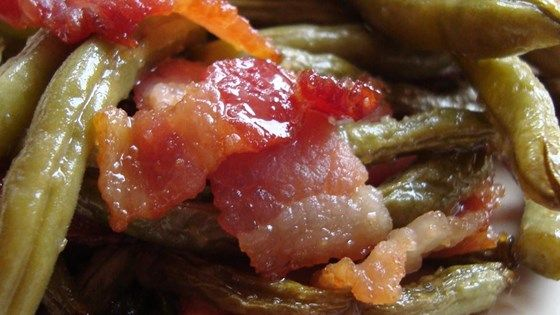 Green beans and bacon are baked in a sweet and savory sauce.