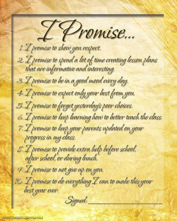 10 Amazing Teacher Promises for the Beginning of School #newteacher