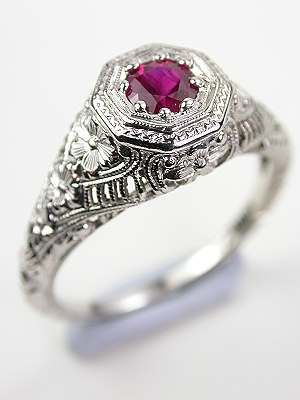 Antique Ruby Ring with Floral and Filigree, ca. 1920