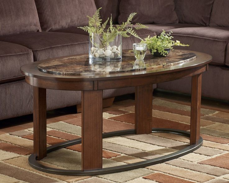 Attractive Living Room, Attractive Living Room Coffee Table Sets With Oval Shape And  Natural Brown Color Also Glass Centerpieces On The Top: Awesome Living Room  Coffee ...