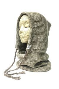This handcrafted knit hood comes with attached cowl neckwarmer that doubles as a scarf and functional drawstring. Perfect for fall layering, windy bike ride
