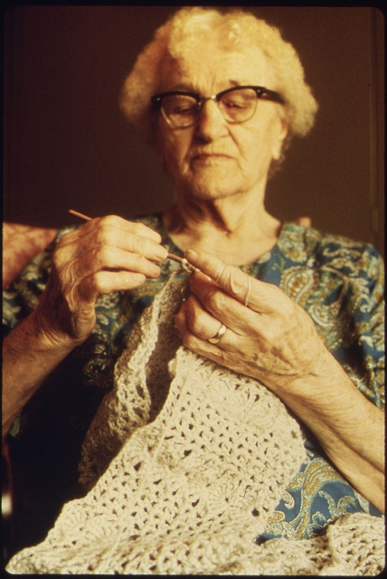crocheting woman