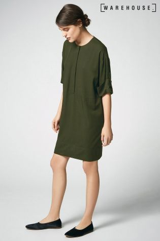 Buy Warehouse Khaki Popper Detail Shirt Dress online today at Next: Israel