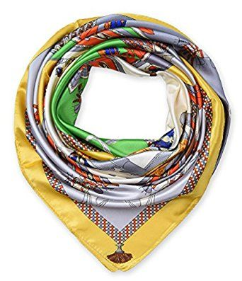 """corciova 35"""" Women's Neckerchief Satin Smooth Scarf for Hair Wrapping at Night Mustard $9.99 Free Shipping"""