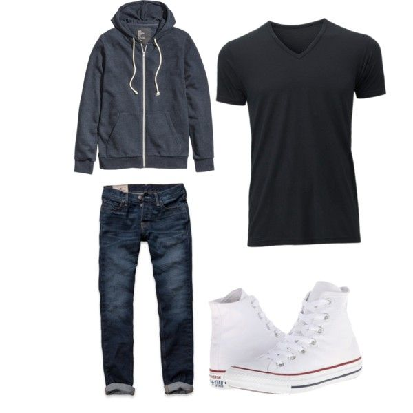 Richard by fernanda-mayela-duran-carrillo on Polyvore featuring polyvore, fashion, style, H&M, Hollister Co., Converse and Uniqlo