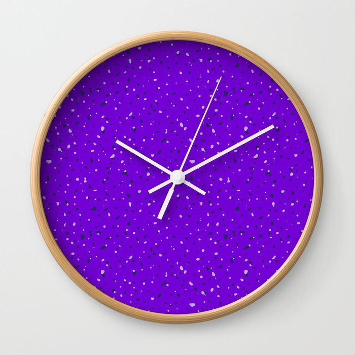 Speckles II: Purple Wall Clock #speckles #pattern #surface #purple #Photoshop #royal #regal #bright #shop #Society6 #product #spotty #splatter #mess #fun