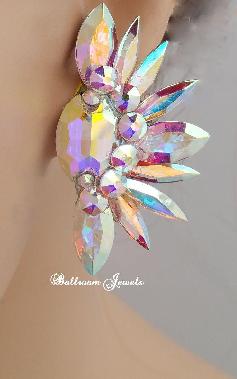 Crystal Ballroom Earrings Oval and Spray