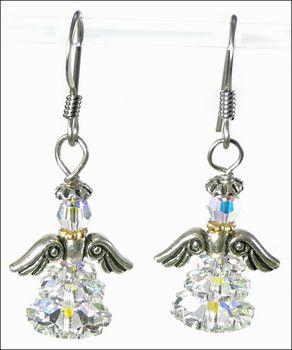 Adorable Angel Swarovski Crystal Earrings | Jewelry Project Kit | Harlequin Beads and Jewelry Custom Kits