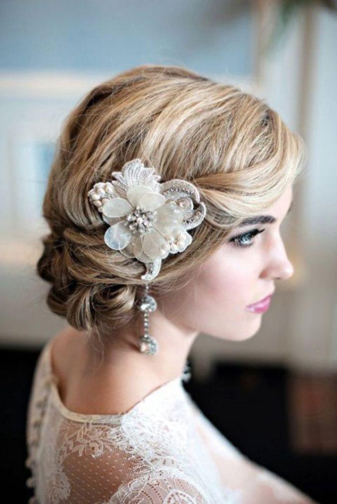 nice Красивые свадебные прически на средние волосы (50 фото) - С фатой и без