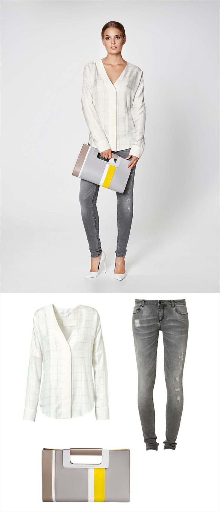 Women's Fashion Ideas - 12 Womens Outfits From Porsche Design's 2017 Spring/Summer Collection // A window pane blouse, ripped jeans, and a grey clutch with a pop of yellow create this versatile women's outfit.