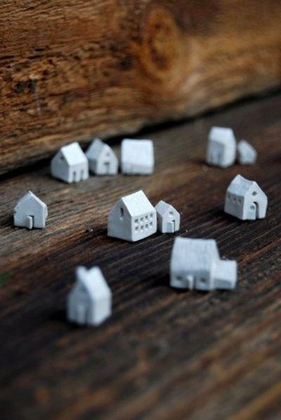Tiny white clay houses ...