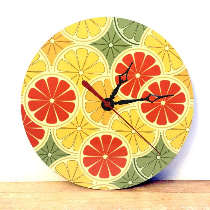 Orange Wall Clock - Orange Decor - Kitsch Ornament - Retro Kitchen Decor - Analog Clock - Retro Wall Clock - Kitchen Wall Art - Sku CK-003