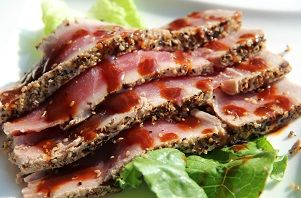 Grilled Ahi Tuna with Sesame Seeds. Delicious!