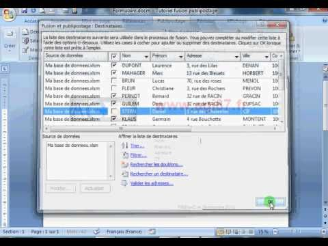 Fusion publipostage Word Excel (tutoriel) - YouTube