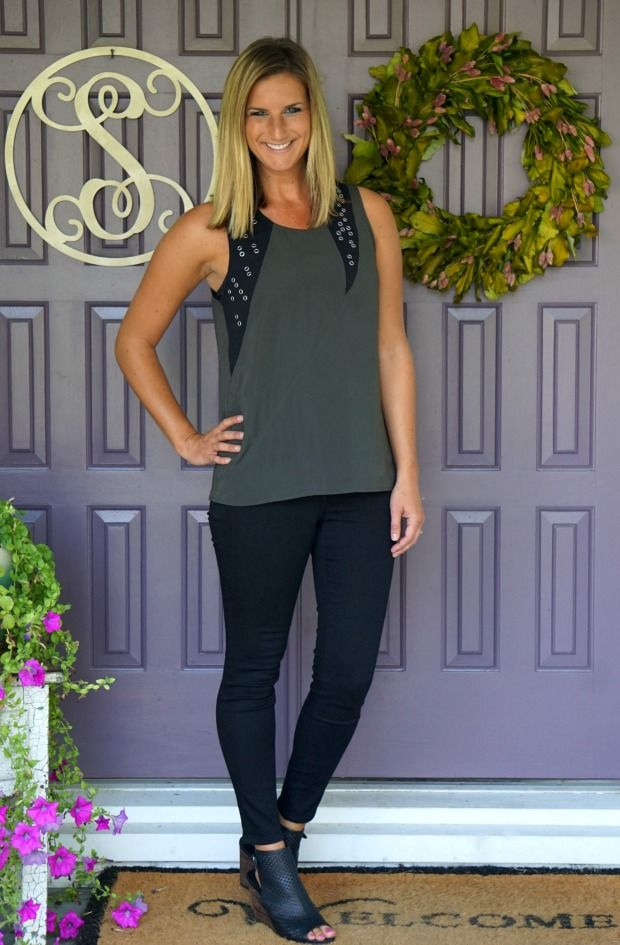 TA: Stitch Fix Exclusive Brand Pixley Cegri Grommet Detail Blouse - olive --- yes, I know it's 100% poly, but I feel like this is a great edgy piece