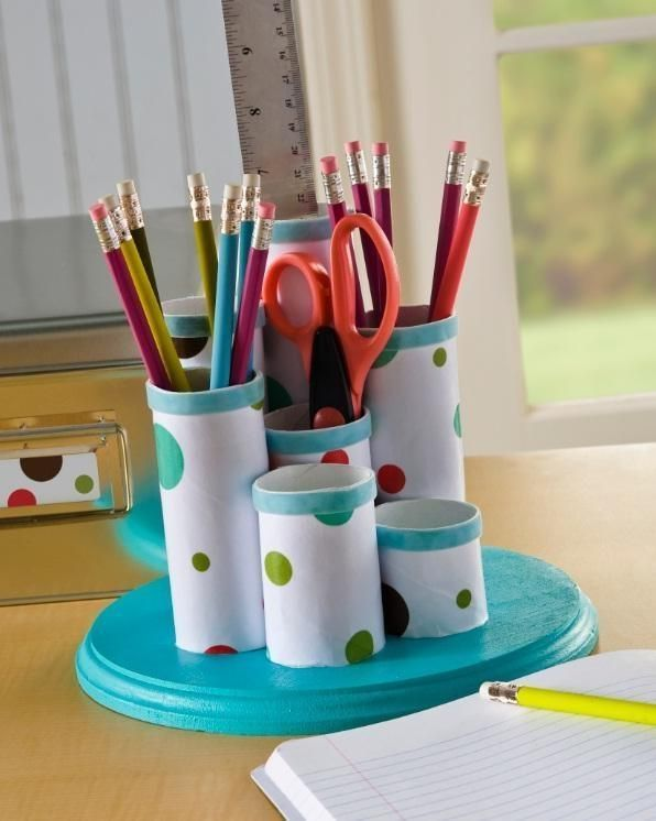 Turn toilet paper rolls into a desk organizer