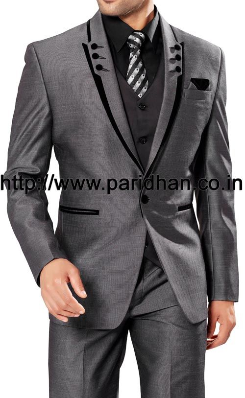 Handsome mens party wear suit made in grey color polyester fabric. It has bottom as trouser.