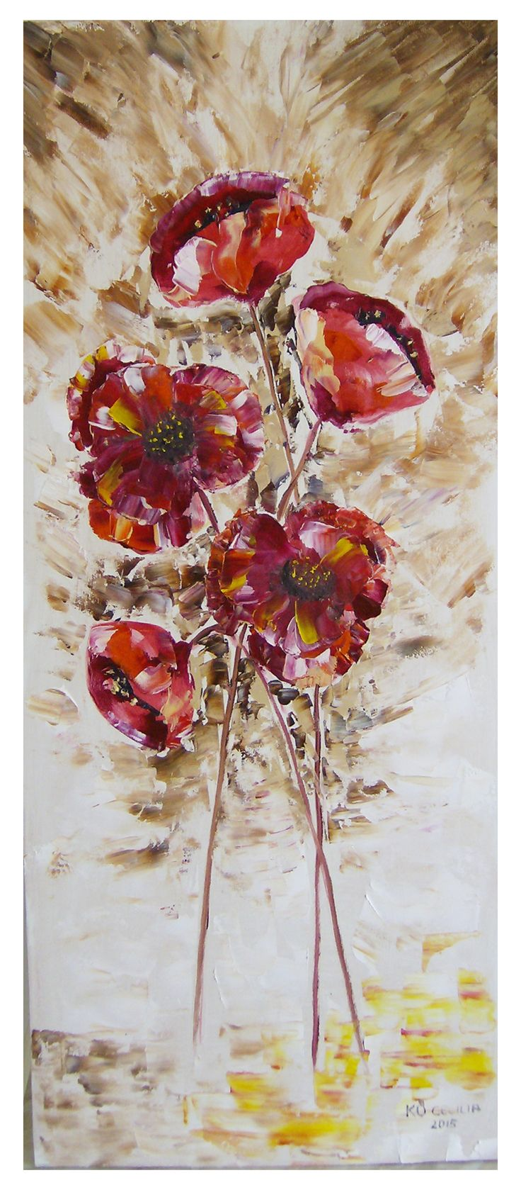 oil paiting,  poppies 30x60cm