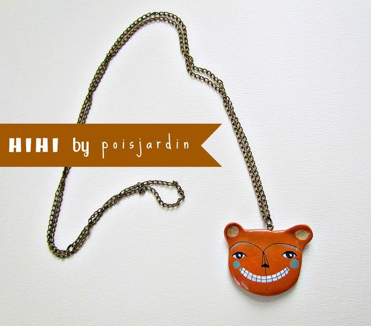 Handmade necklace with a pendant made of air dry clay.  www.facebook.com/poisjardin