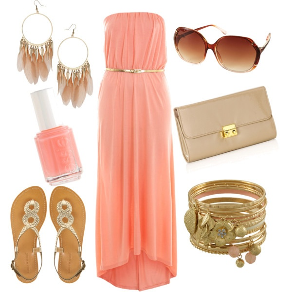 summer: Summer Fashion, Summer Dresses, Summer Looks, Cute Outfits, Summer Outfits, Coral Maxi Dresses, The Dresses, Gold Accessories, Summer Clothing