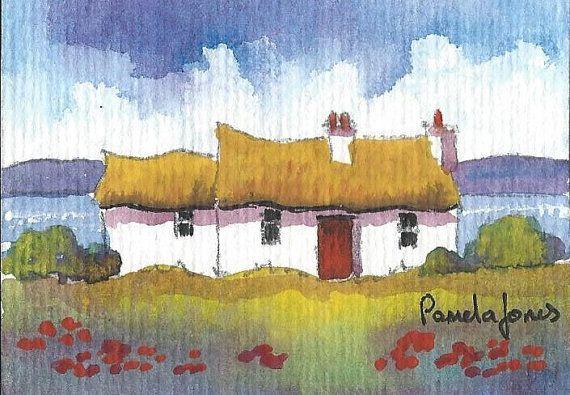 ACEO Original Watercolour Connemara by Pamelajonesartstudio