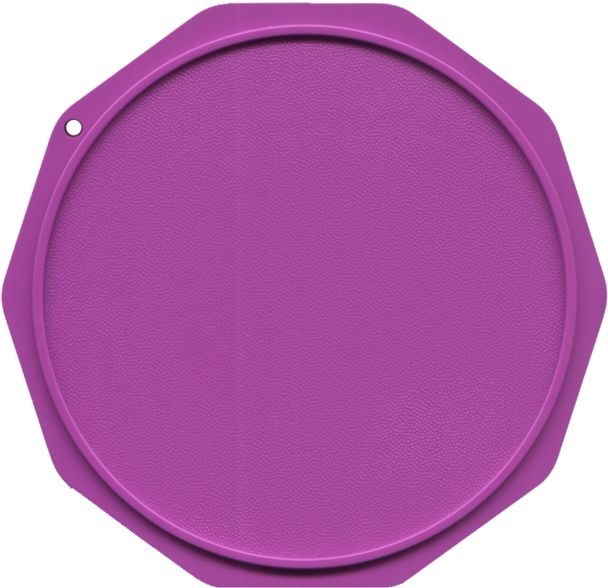 This is a sample of an unprinted purple Motorcycle Coaster®. Check out Motorcycle Coasters® at MotorcycleCoaster.com. The Motorcycle Coaster® is sometimes referred to as a kickstand pad, kickstand plate, side stand pad, side stand plate, or puck.   It is specifically designed as a motorcycle kickstand support aide for soft surfaces and is designed for your custom printed message.