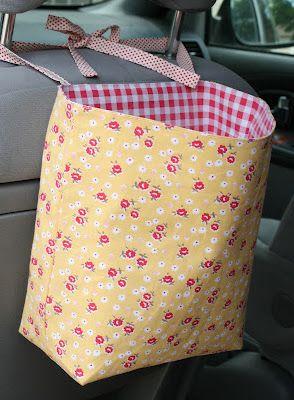 crazy mom quilts: van trash cans: Bags Tutorials, Mom Quilts, Cute Cars, Grocery Bags, Crazy Mom, Trash Bags, Cars Trash, Cars Backseat, Vans Trash