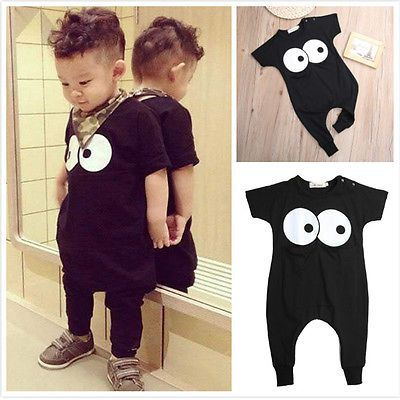 2016 Fashion New Baby Boys Clothes Toddle Kids Summer Short Sleeve Cute Big Eyes Pocket Romper