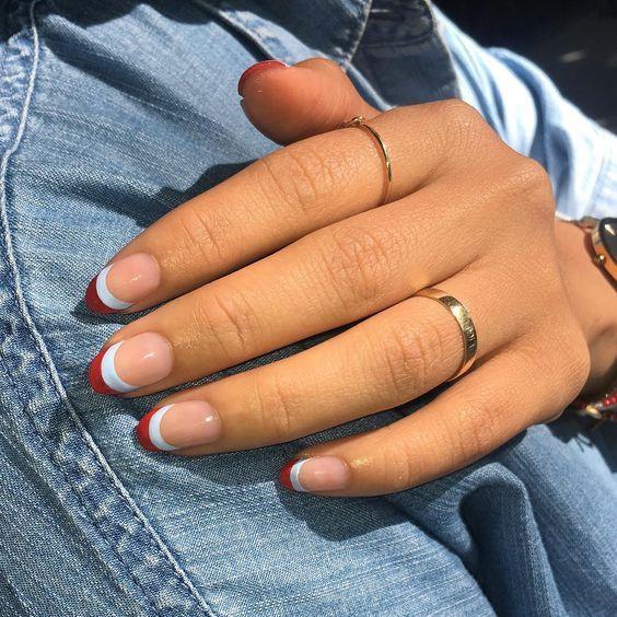 Unhas francesinha dupla vermelha e branca | Healthy nails, Opal nails, Perfect nails