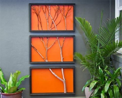 Branch art using basic materials and a garden branch you can create a striking triptych a triple panelled picture where the content extends from one
