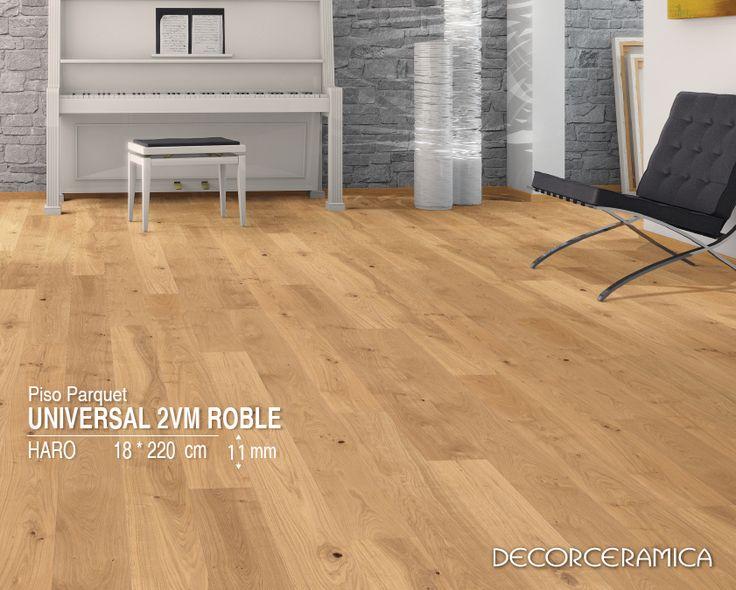 #ideasdecor te recomienda mezcla calidez con rusticidad Esa pared con enchape rústico que ya instalaste o que deseas instalar, combínala con un piso en madera laminada, de modo que diseñes un ambiente tan moderno como natural y auténtico. Conoce más sobre el piso parquet Universal 2VM Roble de la marca HARO http://goo.gl/zY2TSZ #Decorceramica