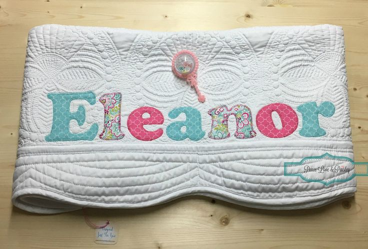 Personalized Baby Quilt, Personalized Baby Gift, Monogrammed Quilt, Baby Shower Gift, Baby Dedication Gift, Pink and Aqua Baby, Eleanor