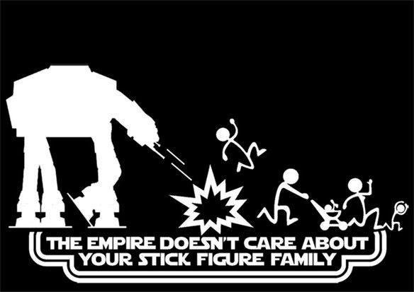 The Empire Doesn't Care About Your Stick Figure Family Star Wars Vinyl Car Decal Stickers