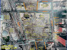 Satellite image of the World Trade center site after the attacks with the location of the Twin Towers and other buildings in the complex superimposed over the debris field.  http://en.wikipedia.org/wiki/World_Trade_Center_site