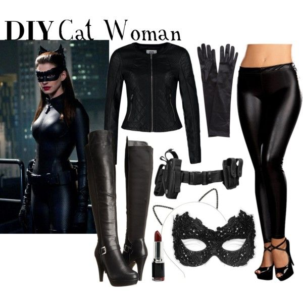 DIY Cat Woman Costume by ayemyree on Polyvore featuring Vero Moda, Buy Seasons, Masquerade, Madden Girl, John Lewis and Makebelieve