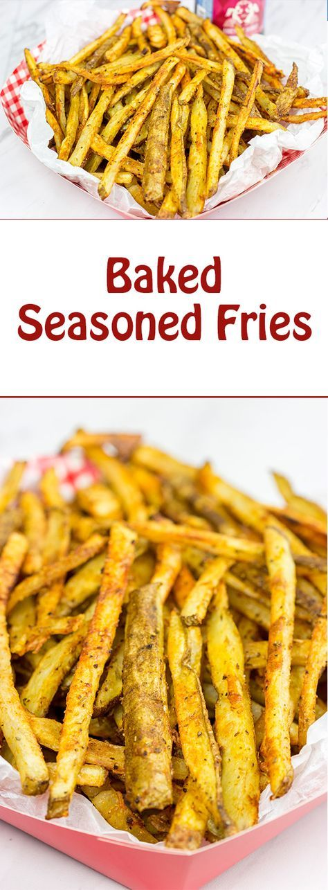 These Baked Seasoned Fries are an excellent side dish for burgers on the grill!