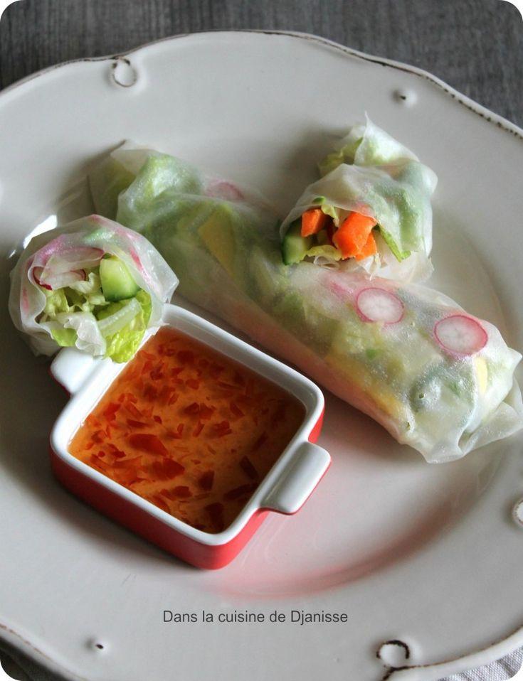 Rouleaux de Printemps avec salade sucrine - Menthe - concombre - carotte - avocat - radis