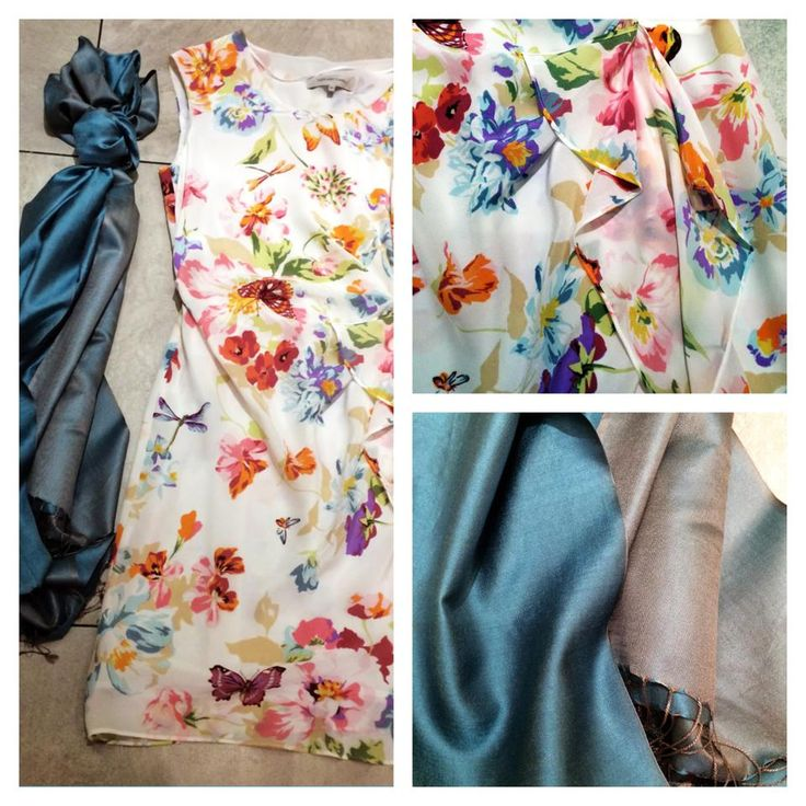 Summer is the inspiration in this 100% silk sleeveless dress with front frill detail & butterfly/floral print | Dress up with one of our beautiful silk or cashmere scarves. Prices on request.