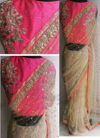 Beige Pink Sequin Work Diamond Work Net Raw Silk   sarees http://www.angelnx.com/Sarees/Wedding-Sarees