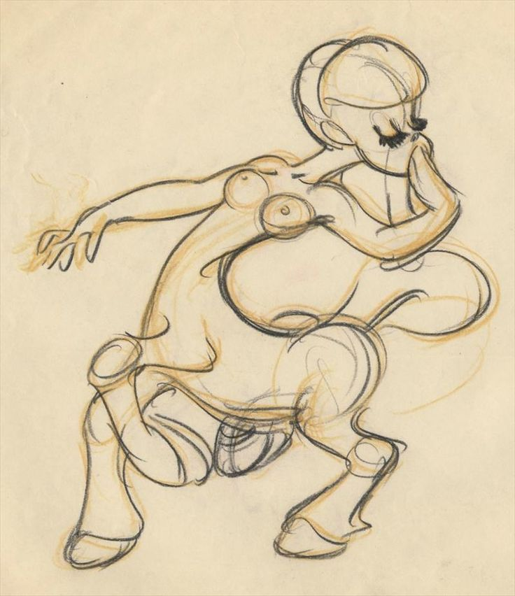 1 of 3 : Disney FANTASIA Fred Moore Animation Drawing of CENTAURETTE for Pastoral Symphony, 1940