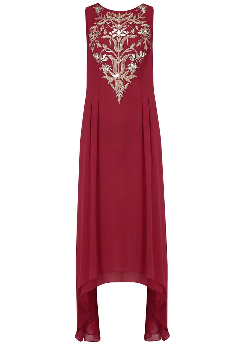 Anita Dongre Red floral embroidered high low tunic available only at Pernia's Pop Up Shop.