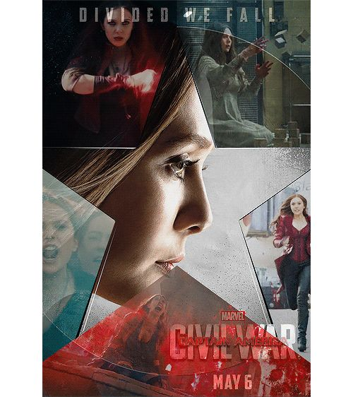 2 of 6. - Source: franklcastle on tumblr. Captain America: Civil War character posters: #TeamCap - Wanda 'Scarlet Witch' Maximoff. - Click through for the motion poster.
