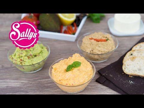 Diese 3 Dips lassen sich im Handumdrehen zubereiten. Avocado-Guacamole-Dip, Paprika-Feta-Dip und Tomaten-Chili-Dip.